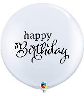 "36"" Simply Happy Birthday White Latex Balloons"