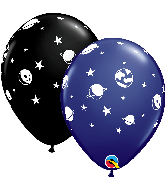 "11"" Celestial Fun Navy, Onyx Black Latex Balloons"