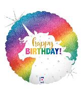 "36"" Foil Balloon Holographic Glitter Unicorn Birthday"