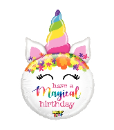 "33"" Mighty Bright Balloon Shape Mighty Birthday Unicorn"