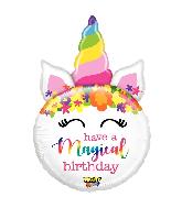 """33"""" Mighty Bright® Balloon Shape Mighty Birthday Unicorn"""