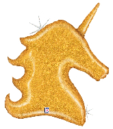 "38"" Foil Shape Balloon Holographic Gold Glitter Unicorn"