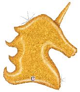 "38"" Foil Shape Balloon Holographic Gold Glitter Unicorn"