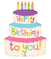 "27"" Foil Shape Balloon Girly Happy Birthday Cake"
