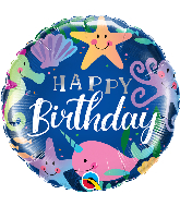 "18"" Round Birthday Fun Under The Sea Foil Balloon"