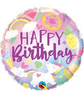 "18"" Round Happy Birthday Fantastical Fun Unicorn"