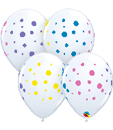 """11"""" Colorful Polka Dots Colorful White Latex Balloons (50 count)"""