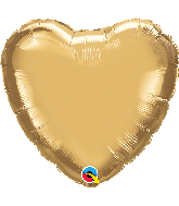 "18"" Heart Qualatex Chrome™ Gold Foil Balloon"
