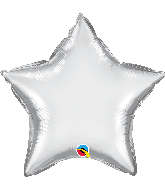 "20"" Star Qualatex Chrome™ Silver Foil Balloon"
