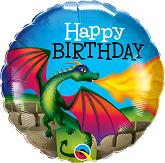 "18"" Happy Birthday Mythical Dragon Foil Balloon"