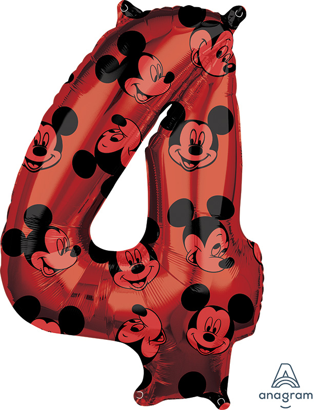 """26"""" Mickey Mouse Forever Number 4 Mid-Size Foil Balloon"""