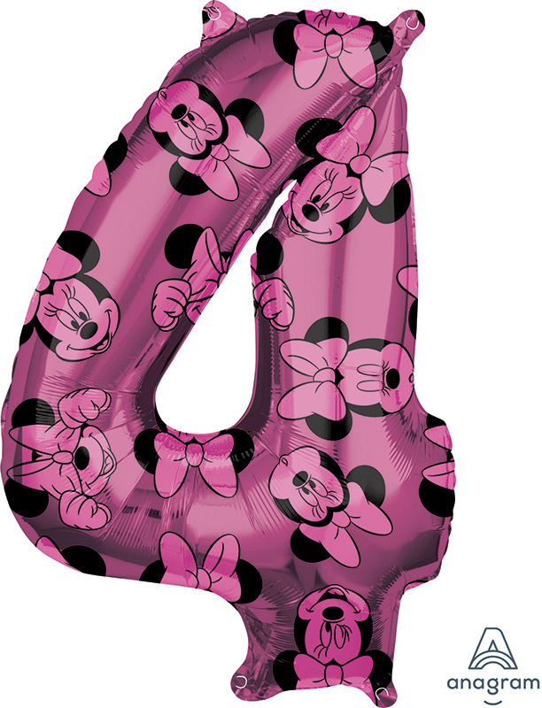 "26"" Minnie Mouse Forever Number 4 Mid-Size Foil Balloon"