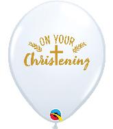 """11"""" White (50 Per Bag) Christening Cross Latex Balloons"""