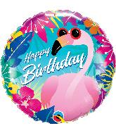"""18"""" Round Birthday Tropical Flamingo Foil Balloon"""