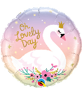 """18"""" Round Oh Lovely Day Swan Foil Balloon"""