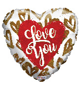 """4"""" I Love You Golden Hearts Holographic Foil Balloon"""