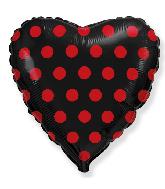 "18"" Heart Black Dots Red Foil Balloon"