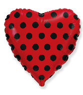 """18"""" Red Dots Black Foil Balloon"""