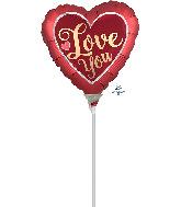 "4"" Airfill Only Love You Satin Sangria Foil Balloon"