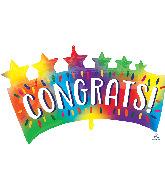 """34"""" Congrats Star Banner SuperShape Foil Balloon"""