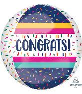 """16"""" Colorful Congrats Orbz Foil Balloon"""