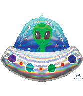 "28"" Alien Space Ship Iridescent Holographic Foil Balloon"