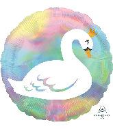 """18"""" Iridescent Pastel Swan Foil Balloon"""