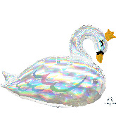 "29"" Iridescent Swan Holographic SuperShape Foil Balloon"