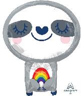 """19"""" Sloth with Rainbow Foil Balloon"""