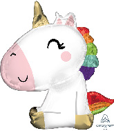 "29"" Satin Sitting Unicorn SuperShape Foil Balloon"