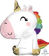 """29"""" Satin Sitting Unicorn SuperShape Foil Balloon"""