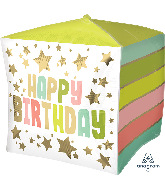 "15"" Happy Birthday Gold Stars Colors Cubez Foil Balloon"