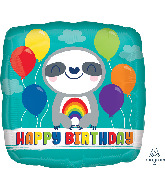 "18"" Happy Birthday Sloth with Rainbow Foil Balloon"