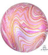 "16"" Jumbo Pink Marblez Orbz Foil Balloon"