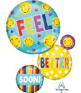 """28"""" Feel Better Soon Bubbles SuperShape Foil Balloon"""