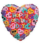 "18"" Happy Valentine's Day Smilies Gellibean Foil Balloon"