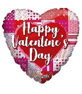 "18"" Happy Valentine's Day Patterns & Heart Foil Balloon"