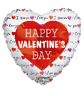 "4"" Classic Happy Valentine's Day Foil Balloon"