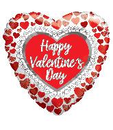 "18"" Happy Valentine's Day Glitter Hearts Foil Balloon"
