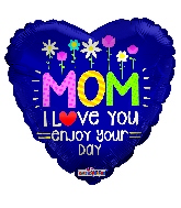 "18"" Mom With Flowers Gellibean Foil Balloon"