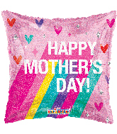 "18"" Happy Mother's Day Rainbow Holographic Foil Balloon"