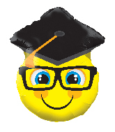 "12"" Smiley With Grad Cap Shape Foil Balloon"