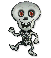 Jumbo Halloween Skeleton Grey Foil Balloon