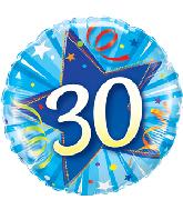 """18"""" 30 Shining Star Bright Blue Mylar Balloon"""