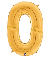 """64"""" Foil Shaped Gigaloon Balloon Packaged Number 0 Gold"""