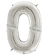"64"" Foil Shaped Gigaloon Balloon Packaged Number 0 Silver"