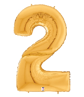 """64"""" Foil Shaped Gigaloon Balloon Packaged Number 2 Gold"""