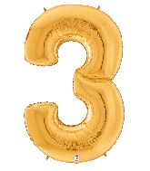"""64"""" Foil Shaped Gigaloon Balloon Packaged Number 3 Gold"""