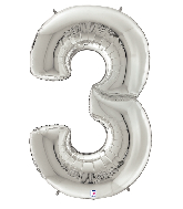 "64"" Foil Shaped Gigaloon Balloon Packaged Number 3 Silver"