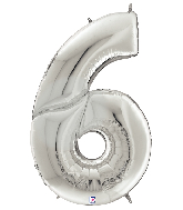 "64"" Foil Shaped Gigaloon Balloon Packaged Number 6 Silver"